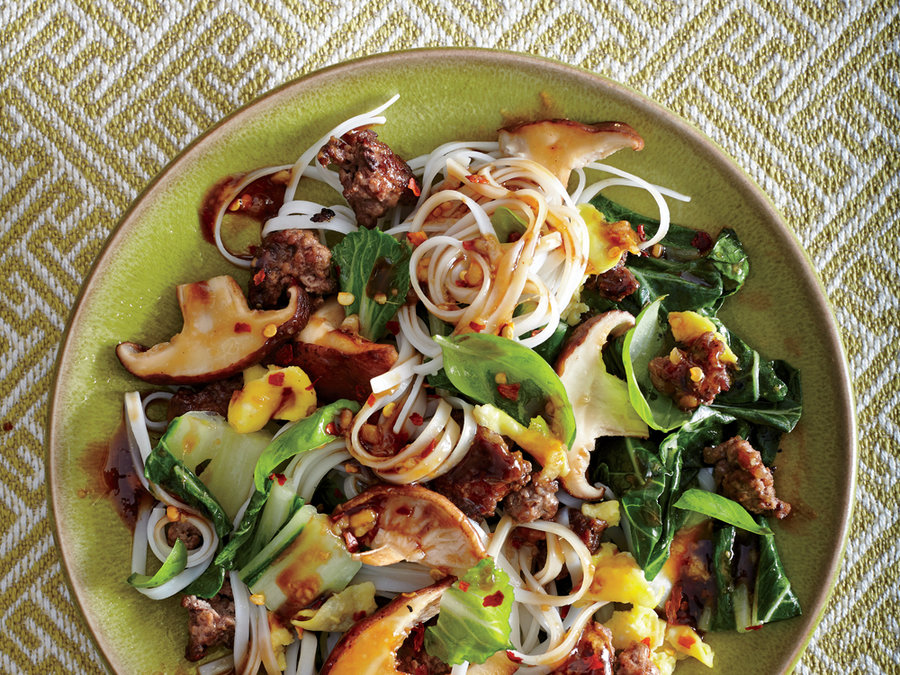 Thai Beef and Basil Noodles with Shiitake Gravy