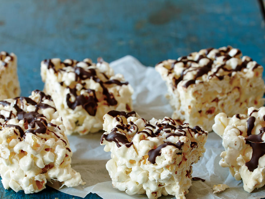 Marshmallow Popcorn Treats with Dark Chocolate Drizzle