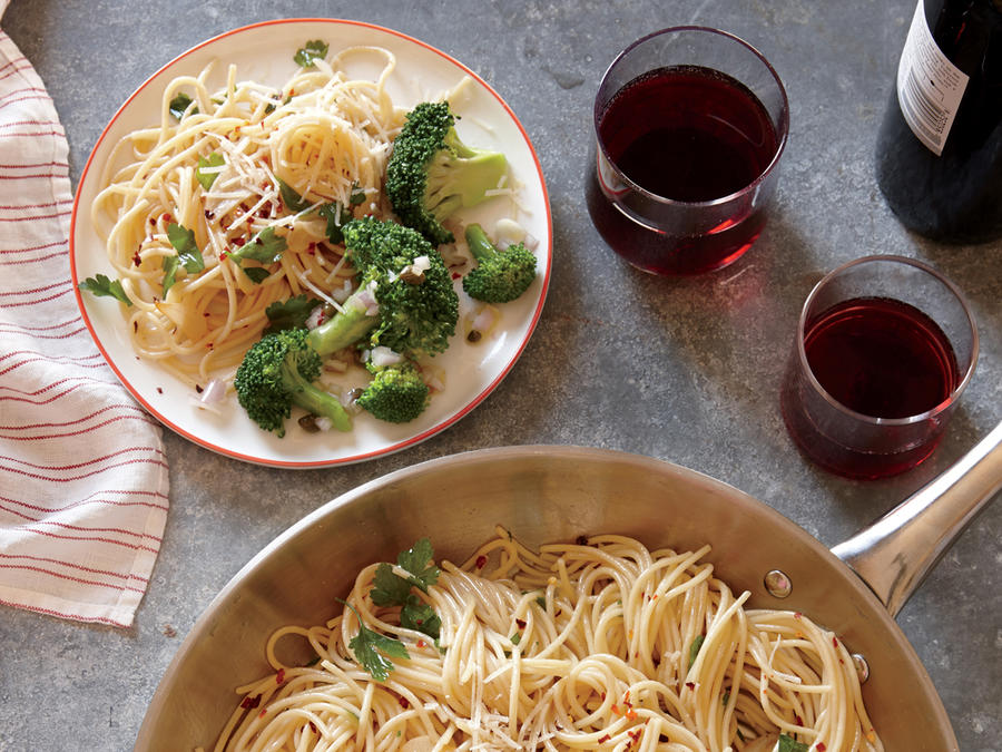 Starter Dish: Spaghetti with Anchovies, Garlic, and Red Pepper with Lemon-Caper Broccoli