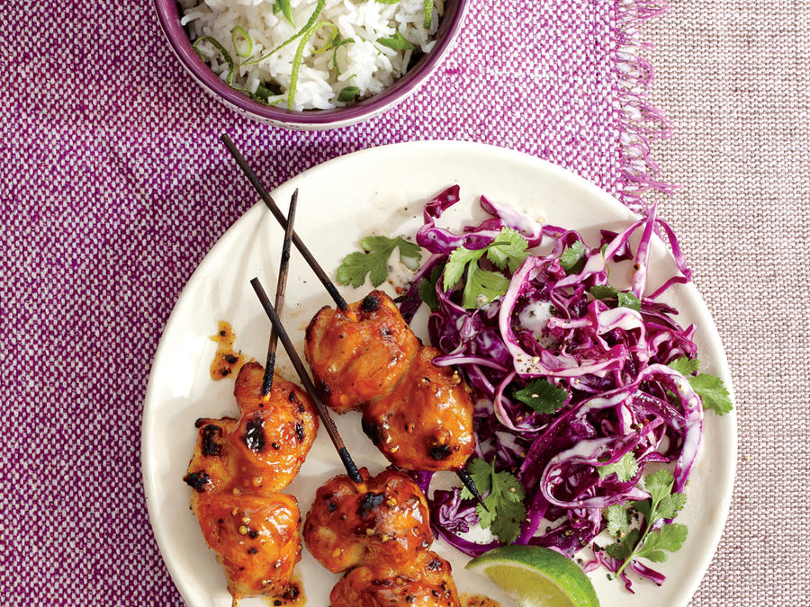 Pineapple Chicken Kebabs with Cilantro-Lime Slaw