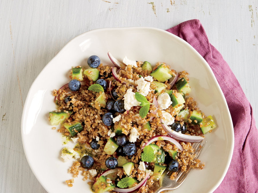 Blueberry and Feta Bulgur Salad with Mint Dressing
