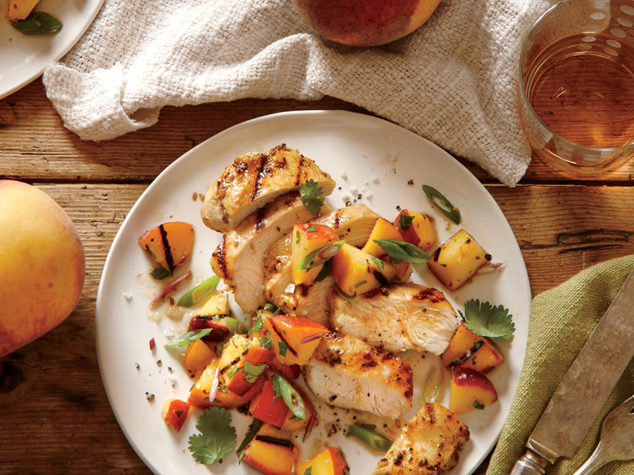 Spiced Chicken with Grilled Peach Salsa