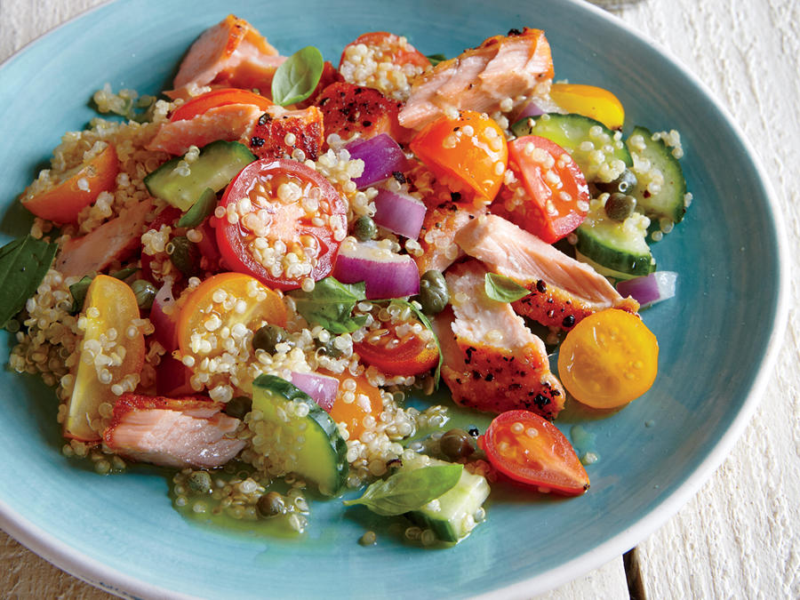 Quinoa Panzanella with Wild Salmon