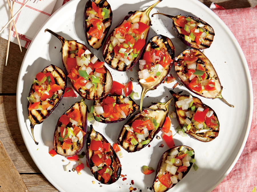 Grilled Baby Eggplants with Green Onion Salsa