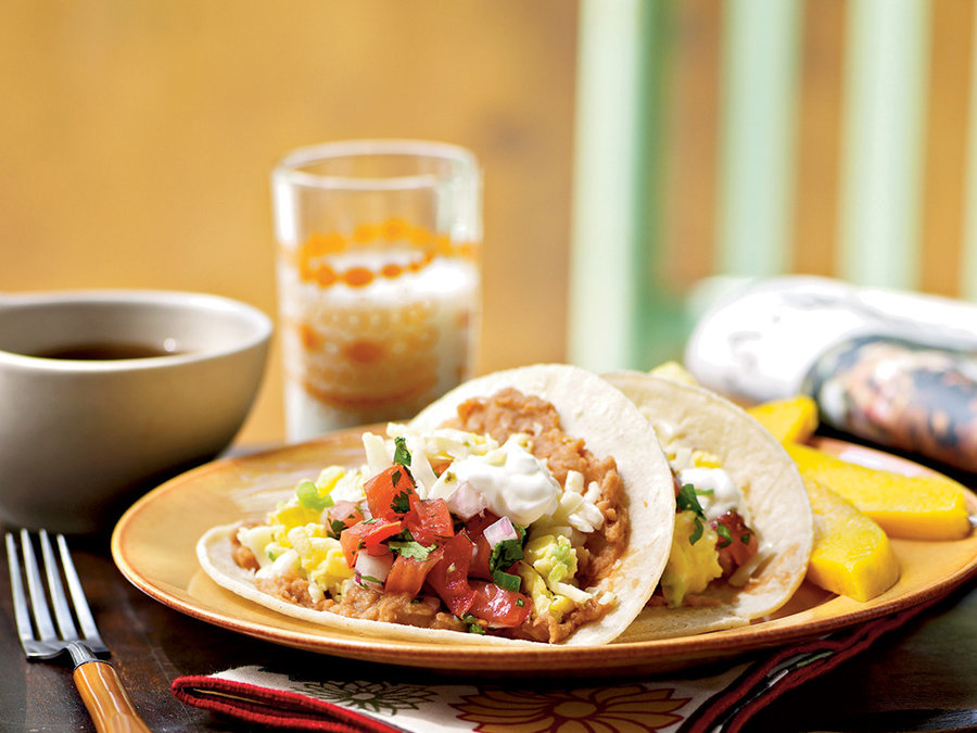 Egg and Cheese Breakfast Tacos with Homemade Salsa