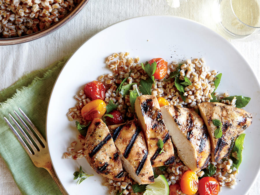 Starter Dish: Herbed Wheat Berry and Roasted Tomato Salad with Grilled ...