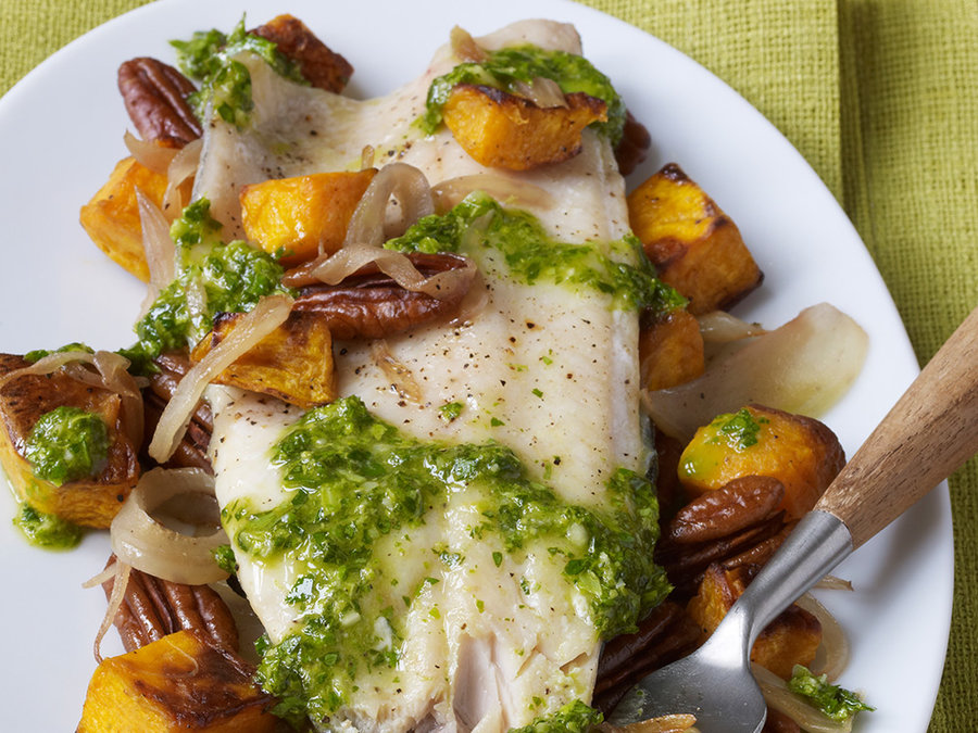 Grilled Trout with Roasted Butternut Squash, Pecans, and Celery Leaf Pesto