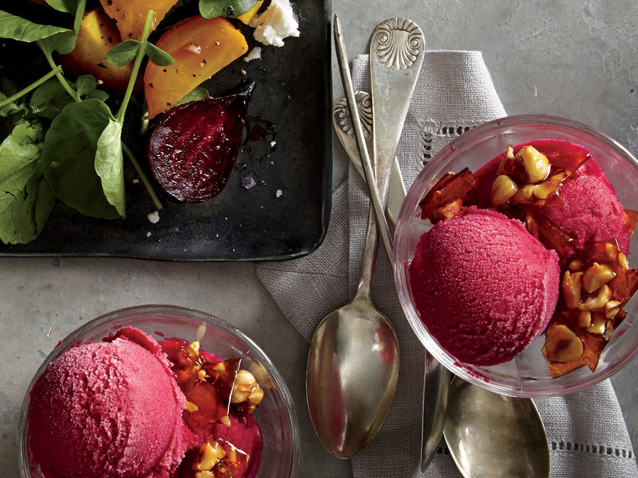 Buttermilk-Beet Sherbet with Hazelnut Brittle