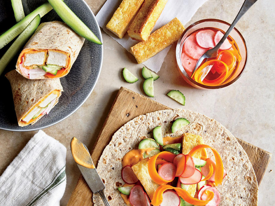 Tofu Banh Mi Wraps with Quick-Pickled Carrots and Radishes