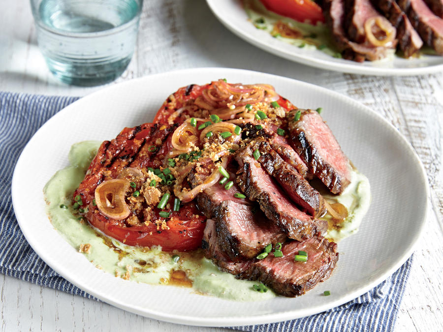 August: Grilled Steak and Tomatoes with Tofu Ranch Dressing