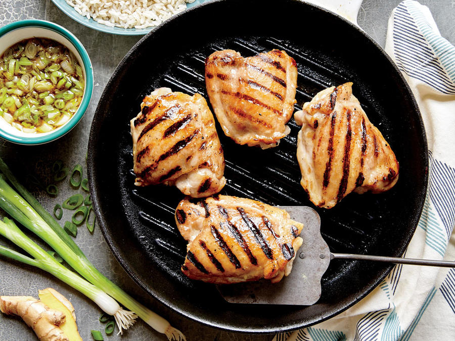 Grilled Chicken Thighs with Ginger Sauce