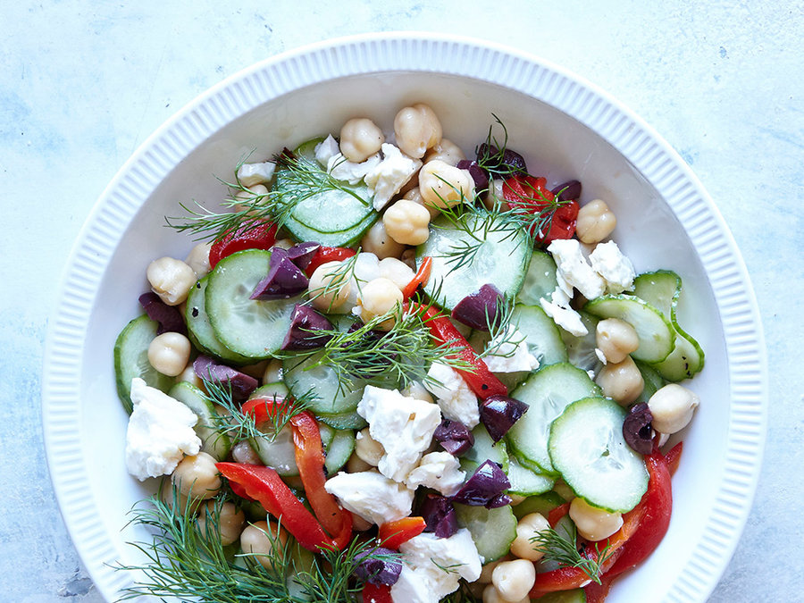 Greek Cucumber and Chickpea Breakfast Salad