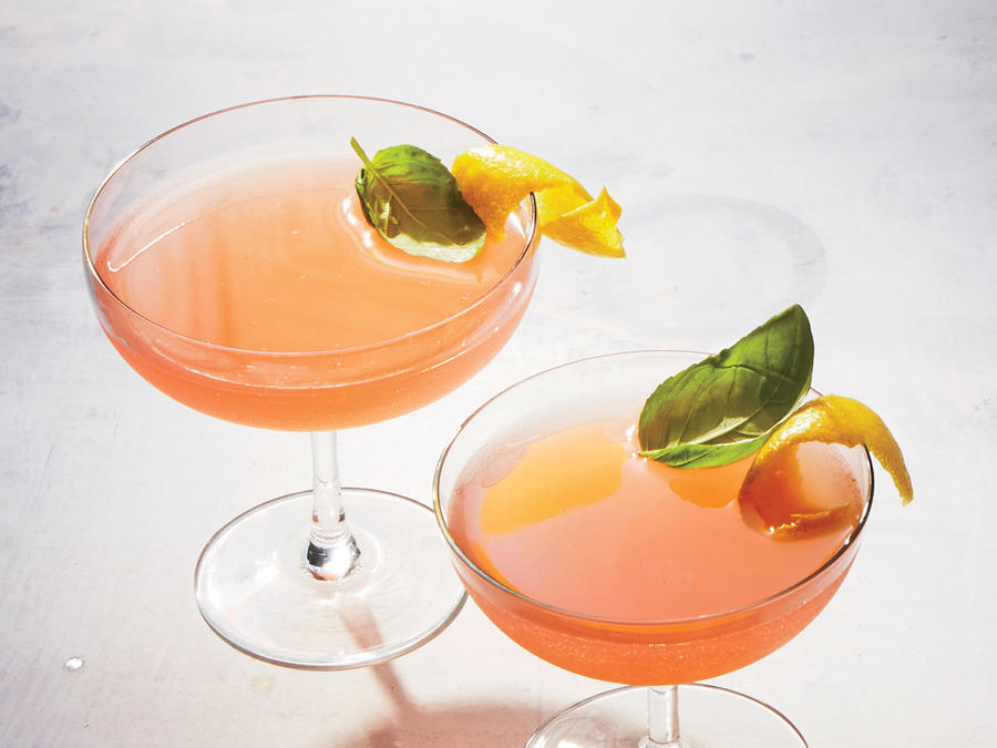 Rhubarb-Basil Shrub Cocktails