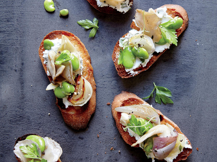 Fava Bean and Mushroom Crostini