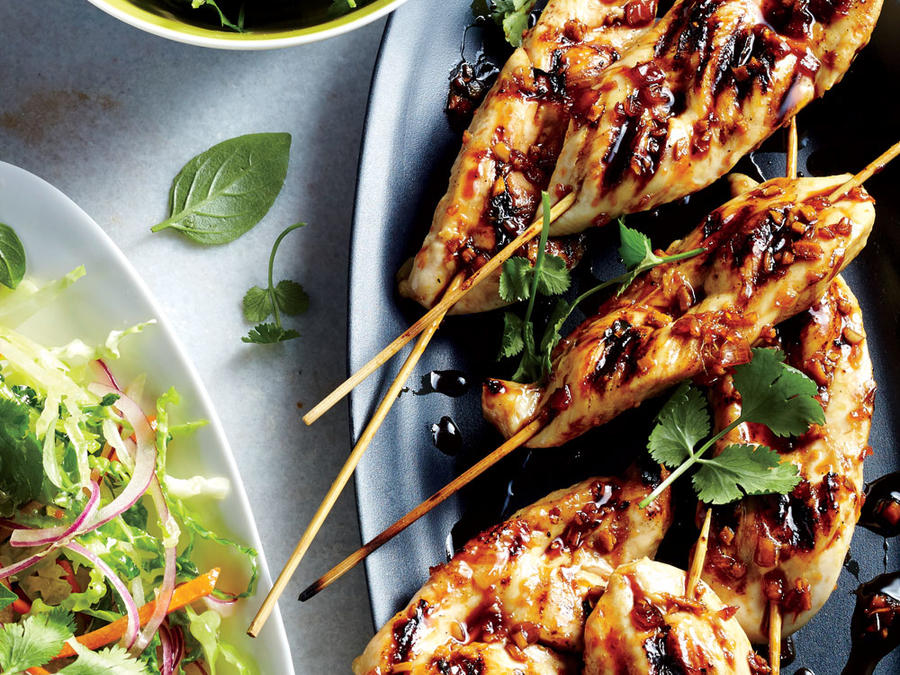 Grilled Chicken Skewers with Asian Pear Slaw