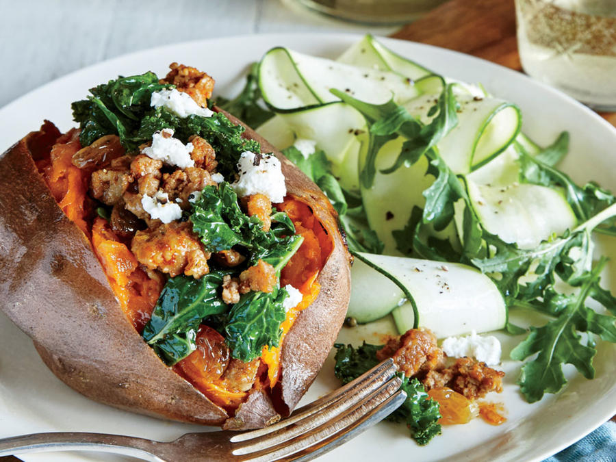 Starter Dish: Chorizo and Kale-Stuffed Sweet Potatoes