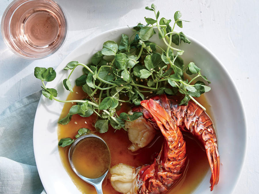 Poached Lobster Tails with Dressed Pea Shoots