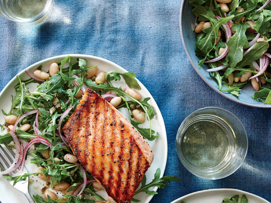 Grilled Salmon with White Bean and Arugula Salad