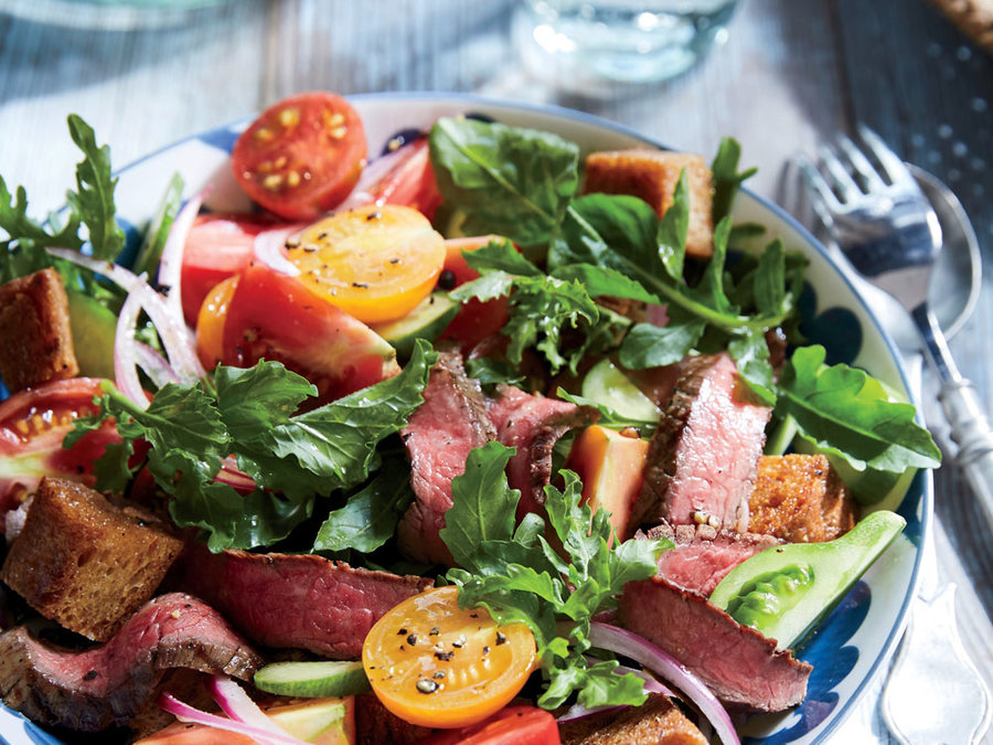 Flank Steak Panzanella Salad