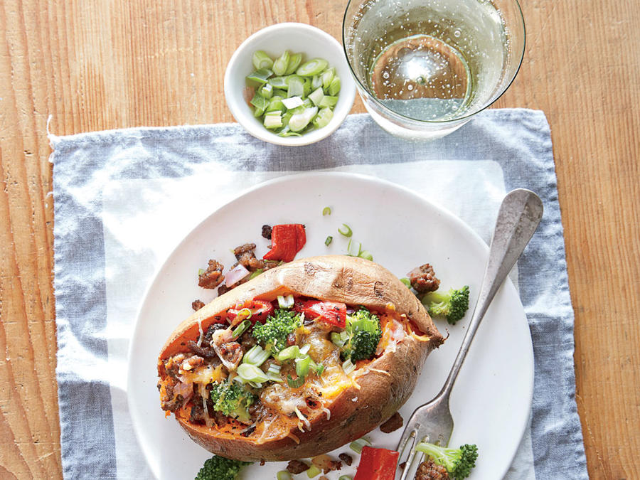 Beef and Broccoli Stuffed Sweet Potatoes