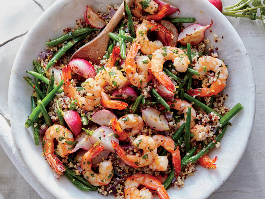 Lemon-Garlic Shrimp with Radish and Green Bean Quinoa