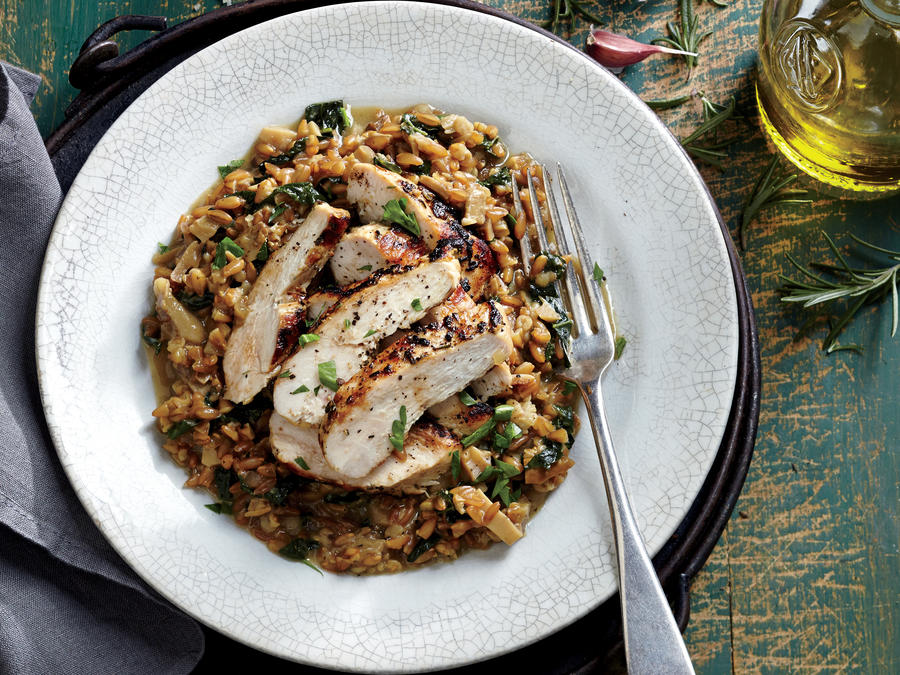 grilled rosemary chicken with farro risotto recipe