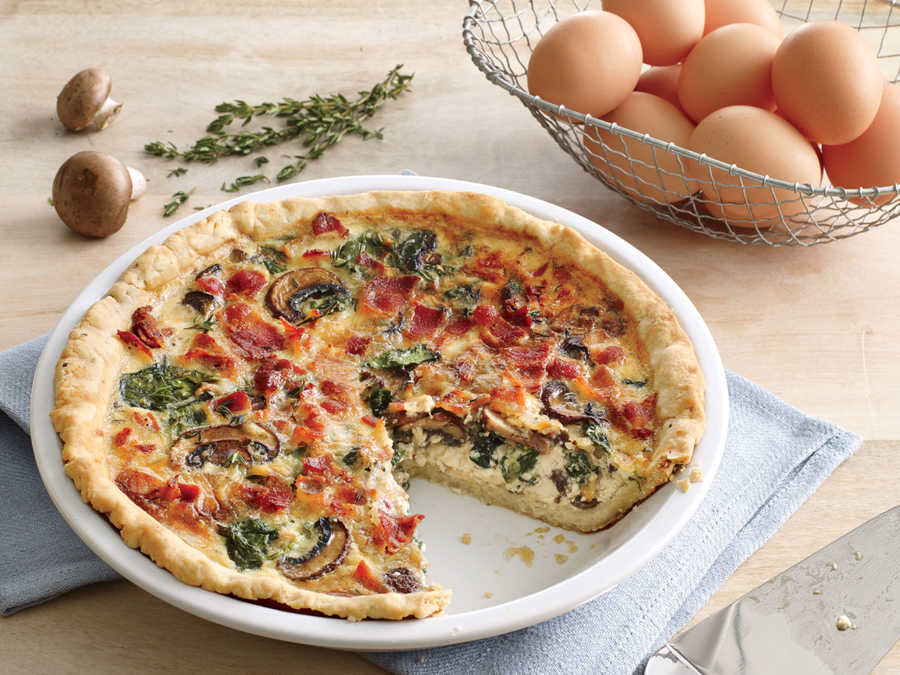 Mushroom, Gruyère, and Spinach Quiche