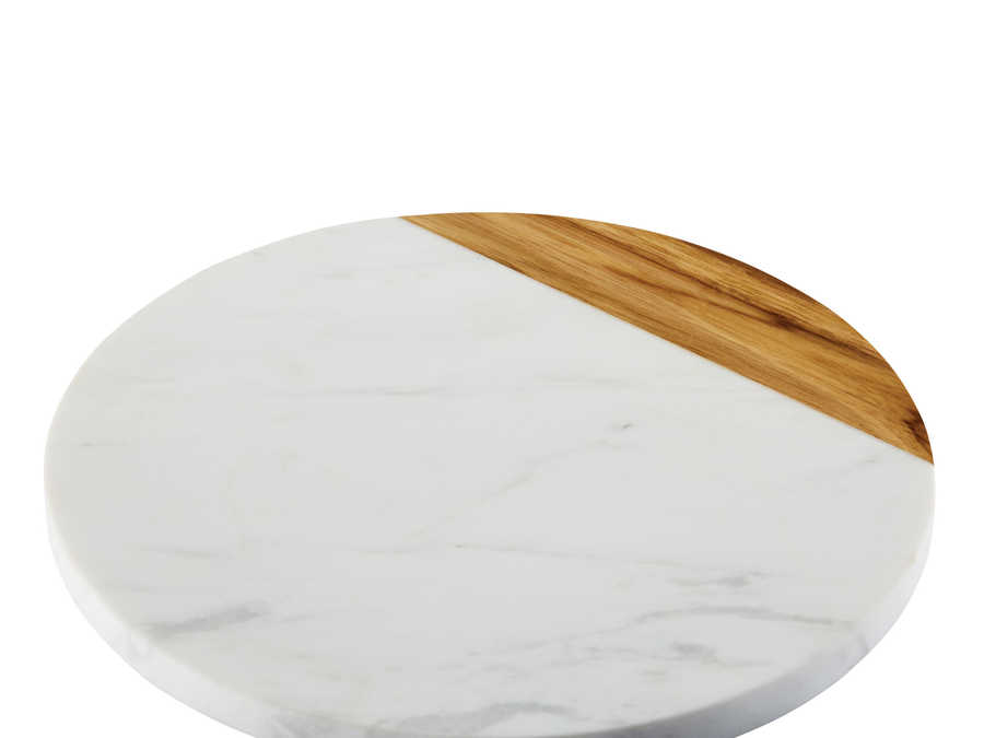 "Anolon 10"" Round Teak & Marble Serving Board"