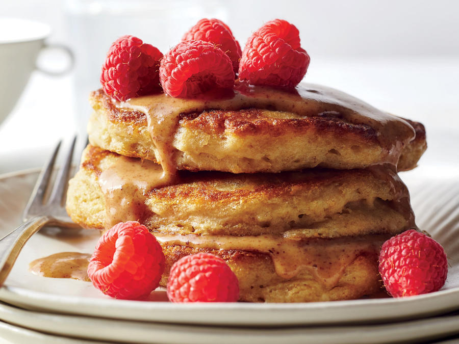 Fluffiest Multigrain Pancakes with Almond Butter Drizzle