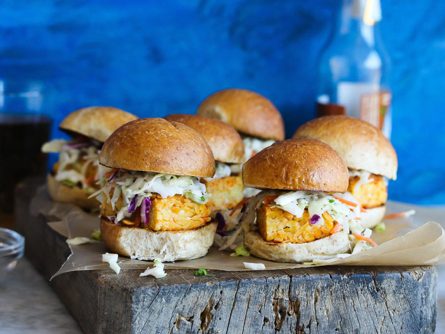 Buffalo Tempeh Sliders with Celery Seed Slaw