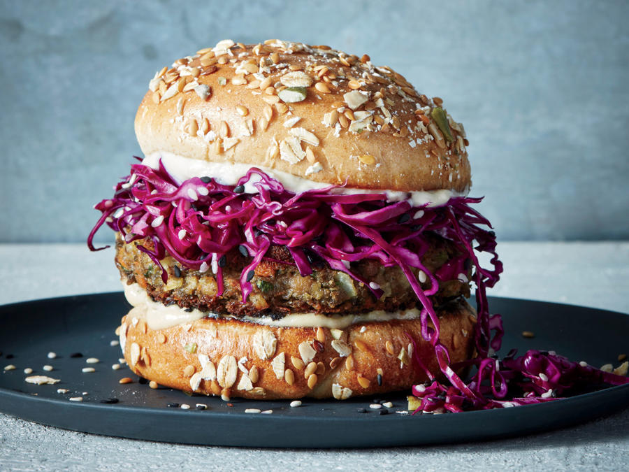 Lentil-Tahini Burgers with Pickled Cabbage