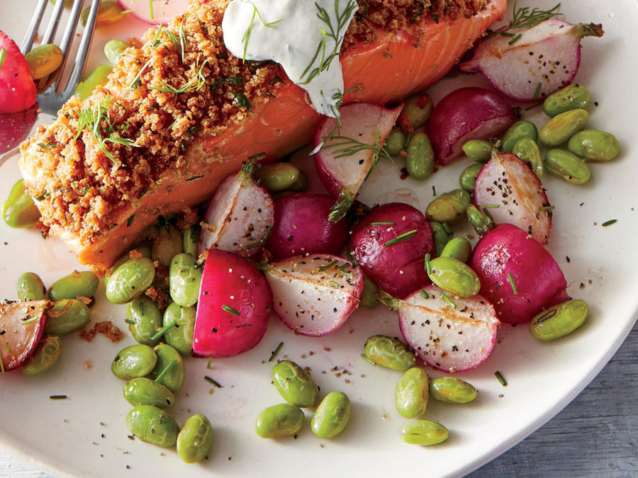 Warm Butter Radish and Edamame Salad