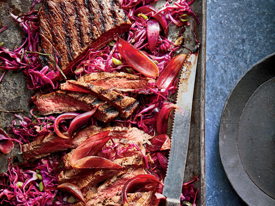 Red Wine-Marinated Steak with Balsamic Onions and Slaw