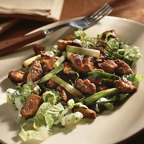 Caramelized Pork Over Lettuce