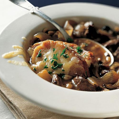Healthy French Onion Soup with Beef and Barley Recipe