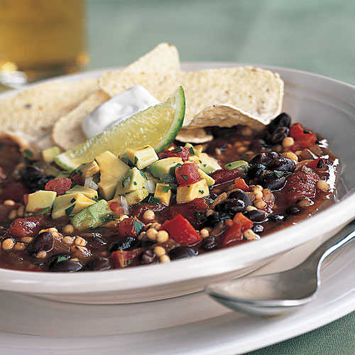 Quick and Healthy Quick Vegetarian Chili with Avocado Salsa Recipe