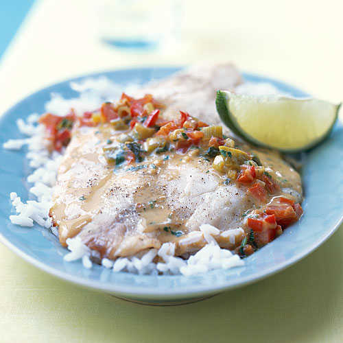 Broiled Tilapia with Thai Coconut-Curry Sauce