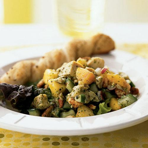 Healthy Chicken Salad with Nectarines in Mint Vinaigrette Recipe