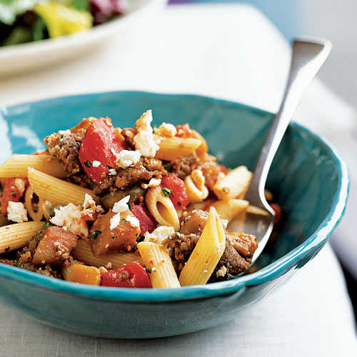 100 Pasta Recipes: Penne with Sausage, Eggplant, and Feta