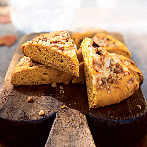 Pumpkin-Walnut Focaccia with Gruyere