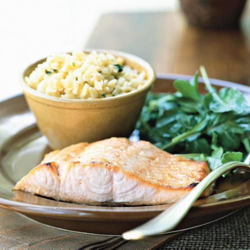 Honey-Ginger Glazed Salmon with Arugula Salad