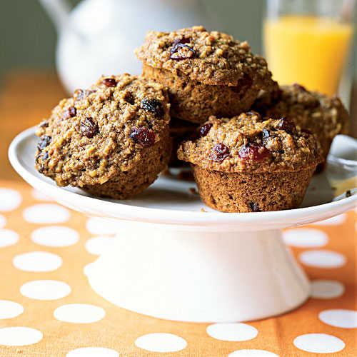 Whole-Wheat Flour, Oatmeal, and Raisin Muffins