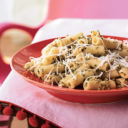 Rigatoni with Green Olive-Almond Pesto and Asiago Cheese
