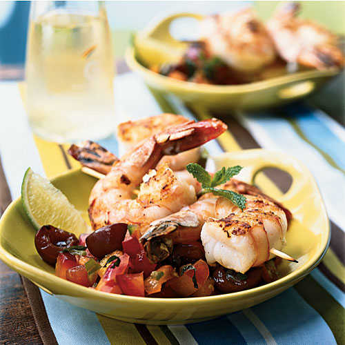Grilled Shrimp Skewers with Summer Fruit Salsa