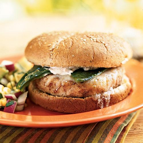 Hominy-Pinto Burgers with Roasted Poblano Chiles Recipes