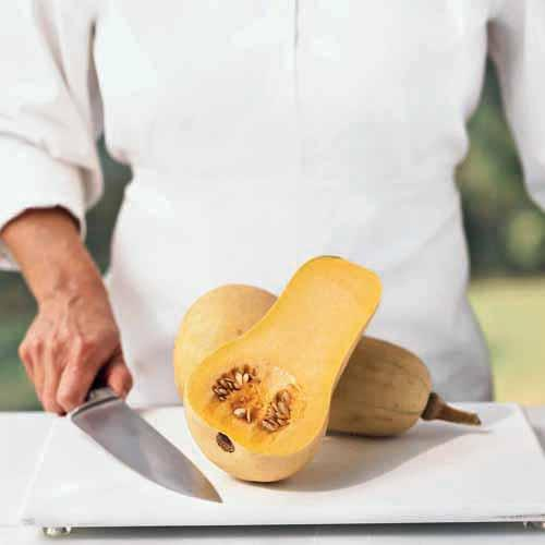 a butternut squash cut in half