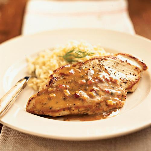 Pan-Roasted Chicken Cutlets with Maple-Mustard Dill Sauce