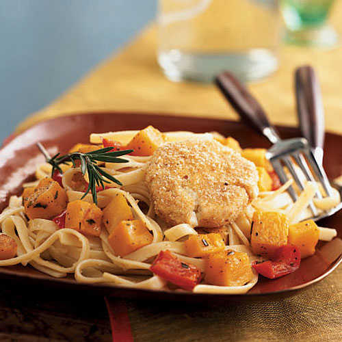 Baked Goat Cheese and Roasted Winter Squash over Garlicky Fettuccine