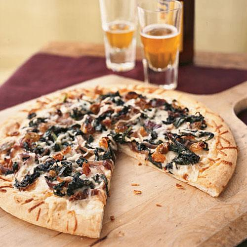 Winter's Best: Winter Greens, Asiago, and Anchovy Pizza