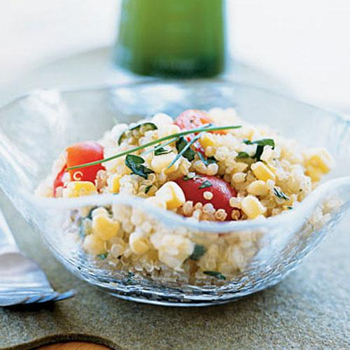 Quinoa, Corn, and Tomato Salad with Chive-Infused Oil